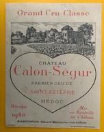 11485 - Château Calon-Sègur 1960 Saint Estèphe - Bordeaux
