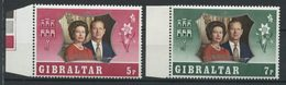 Gibraltar 1972 N° 290/291 ** Neufs MNH Superbes C 1 € Elizabeth II Noce D' Argent Portraits - Gibraltar