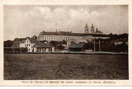 St. FLORIAN -Augustiner- Chorherrnstift, Bahnhof Der Elektr. Lokalbahn St.Florian - Ebelsberg, Lokalbahnzug, 13.8.1920 - Österreich