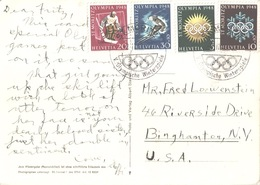 Switzerland 4 Commemorative Stamps All Top Quality St. Moritz Special Handstamp On Postcard Skilift Ciorviglia-Piz Nair - Winter 1948: St-Moritz