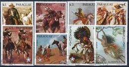 PARAGUAY - 1976 - N°1459/1466 Oblitérés - 8 TP COWBOYS Et INDIENS - BICENTENAIRE DES USA - Paraguay