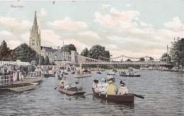 AO93 Marlow - Boats On River, Bridge, Church - 1906 Postcard - Buckinghamshire