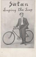 "CPA Acrobate ""SATAN"" Looping The Loop Cirque Circus Cirk Cycliste Cyclisme Vélo Bicyclette Cycling Radsport (2 Scans) - Circus"