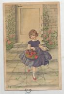 Petite Fille Panier De Fleurs. - Scènes & Paysages