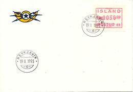 Iceland FDC 19-11-1993 ATM Frama Label 30,00 Kroner - ATM - Frama (vignette)