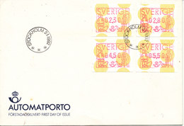 Sweden FDC With 4 Frama Labels 2-1-1992 With Cachet - ATM - Frama (labels)