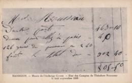 AR61 Barbizon, Musee De L'Auberge Ganne, Etat Des Comptes De Theodore Rousseaus, 8/9/1849 - Barbizon
