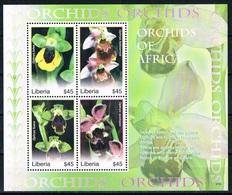 Bloc Sheet Fleurs Orchidees Flowers Orchids  Neuf  MNH **   Liberia 2007 - Orchideeën