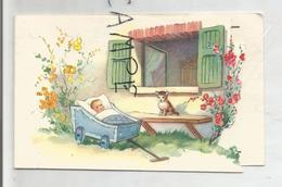 Mignonnette Double Bébé Dans Un Couffin. Chat Sur Le Banc. Guy Gouders à Beyne-Heuset Le 02/01/1959 - Naissance
