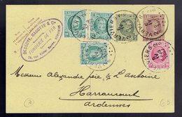 CP 76 + 194 X 3 + 200 Verviers 6 IV 1927 => Haraucourt ( France ) Cachet Privé Fonderie De Fer Dessoye, Magotte Verviers - Postwaardestukken