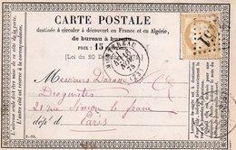 Carte Précurseur Cérès 15c, Cachet Montereau 1875, Losange, Gros Chiffres 2451 - Marcophilie (Lettres)