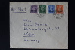 MOROCCO AGENCIES AIRMAIL COVER 9-5-1951 SG  263 - 280 - 281 - 282  TANGER TO COLN GERMANY 4 COLOR FRANKING - Morocco Agencies / Tangier (...-1958)