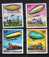"""Comores  - 1977. Serie """" Dirigibili  E  Treni"""". """"Airships And Trains"""" . Complete MNH Series - Mongolfiere"""