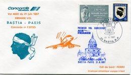 ENVELOPPE CONCORDE 1er VOL BASTIA - PARIS DU 21 JUIN 1987 - Concorde