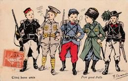 """CPA Patriotique Militaria Militaire Pays Alliés """"Cinq Bons Amis"""" Illustrateur (2 Scans) - Patrióticos"""