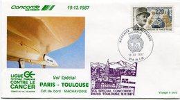 ENVELOPPE CONCORDE VOL SPECIAL PARIS - TOULOUSE DU 19-12-1987 - Concorde
