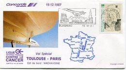 ENVELOPPE CONCORDE VOL SPECIAL TOULOUSE - PARIS DU 19-12-1987 - Concorde