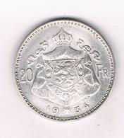 20 FRANK 1934 VL BELGIE/6270/ - 1909-1934: Albert I.
