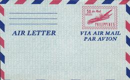 Philippines Postal Stationery Ganzsache Entier Aerogramme Air Letter 50c. Aeroplane Flugzeug Arienne (Unused) - Philippinen