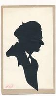 Silhouette Man With Cap Original Vintage Hand Made Silouette Siluette  Old Card - Silhouetkaarten
