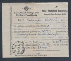 Depósito Na Caixa Económica Postal Nos Correios Restauradores, Lisboa 1948. Deposit At Postal Savings Bank Lisboa. - Portugal