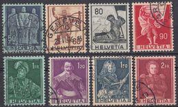 HELVETIA - SUISSE - SVIZZERA - 1941 - Lotto Di 8 Valori Usati: Yvert 358, 359 E 361/366. - Usati