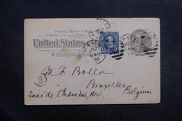 ETATS UNIS - Entier Postal + Complément De New York Pour La Belgique En 1895 - L 40026 - ...-1900