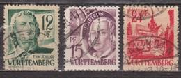Zone D'occupation Française - ALLEMAGNE - WURTEMBERG  - N° 4-5-8 - 1947 - Zone Française