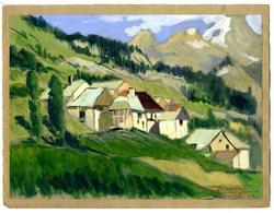 RENE TEIL   SAINT CRISTOPHE EN OISANS LA BERNADIERE  GOUACHE  K1935 - Gouaches