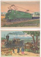 """Train électrique """"2D2"""" 1945 Et Train Américain 1891. Publicités Couleur Des Laboratoires De L'Aérocid à Cachan (Seine) - Publicités"""