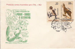 81242- FOREST'S MONTH, TREES, BUTTERFLY, MUSHROOMS, PLANTS, SPECIAL COVER, HOOPOE, CHAMOIS STAMPS, 1994, ROMANIA - Paddestoelen