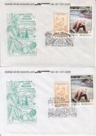 81243- FOREST'S MONTH, TREES,  MUSHROOMS, PLANTS, SPECIAL COVER, STILT, BEAR STAMPS, 2X, 1993, ROMANIA - Paddestoelen