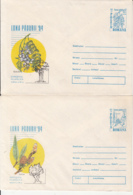 81247- ACACIA, WILLOW, TREES, MUSHROOMS, PLANTS, COVER STATIONERY, 2X, 1994, ROMANIA - Paddestoelen