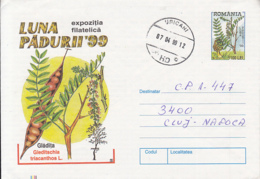 81248- HONEY LOCUST, TREES, MUSHROOMS, PLANTS, COVER STATIONERY, 1999, ROMANIA - Paddestoelen
