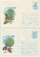 81249-OAK, HORNBEAM, FIR, LARCH, TREES, MUSHROOMS, PLANTS, COVER STATIONERY, 4X, 1992, ROMANIA - Paddestoelen