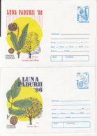 81250- HORSE CHESTNUT, WALNUT, PINE, ALDER, TREES, MUSHROOMS, PLANTS, COVER STATIONERY, 4X, 1996, ROMANIA - Paddestoelen