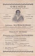 Programme De Musique 15x23  (Program OBCHODOU) OBCHOD 75 -ej  ROCZNICY ZGONU Juljusza SLOWACKIEGO (1924) - Programs