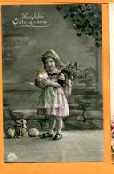 I066, Petite Fille Avec Une Hotte Remplie De Fleurs, Oeufs De Pâques, Circulée Sous Enveloppe - Pâques