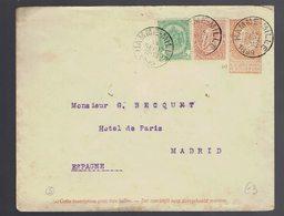 Enveloppe N°5 + 56 + 57 Sans Bandel. Dominicales Hamme-Mille 14 SEPT 1899 Vers Madrid ( Espagne ) 17 SEP 99 ( Estafeta ) - Postwaardestukken