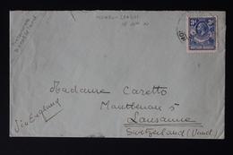 NORTHERN RHODESIA COVER P.O. MONGU LEALUI PROTECTORATE BAROTSELAND RR TO LAUSANNE 18-6-1936 SG 6 - Northern Rhodesia (...-1963)