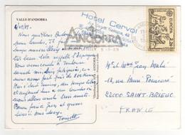 """Timbre EUROPA  Sur CP , Carte , Postcard Du 05/09/1989  Pour La France + Cachet """" Hotel Cervol """" - Andorre Français"""