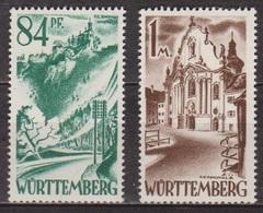 Occupation Française - WURTEMBERG - Chateau De Liechtenstein, Monastère De Zwiefalten - N° 12-13 * - 1947 - Zone Française