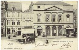 Mons. Le Théâtre Et Le Bureau De Police. Voir Attelage. **** - Mons