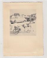 PHOTO ORIGINALE  DES ANNEES 50 LE TOUQUET FILLE SUR UN ATTELAGE DE CHEVAUX DE BOIS - Lieux