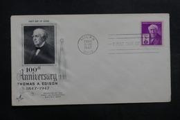 ETATS UNIS - Enveloppe FDC En 1947 - Thomas E. Edison - L 40055 - Premiers Jours (FDC)