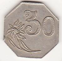 Jeton Octogonal 30 Centimes Avec Une Fleur à Identifier, En Maillechort. - Monetari / Di Necessità