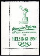 GERMANY RARE OLYMPIA-FIGUREN DER DEUTSCHEN SPORTJUGEND FUR HELSINKI 1952 GREEN MARGINAL POSTER STAMP SWIMMING SWIMMER - Sommer 1952: Helsinki
