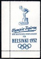 GERMANY RARE OLYMPIA-FIGUREN DER DEUTSCHEN SPORTJUGEND FUR HELSINKI 1952 BLUE MARGINAL POSTER STAMP SWIMMING SWIMMER - Sommer 1952: Helsinki