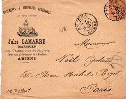 LSC 1901 Entête Illustrée - Monuments & Chapelles Funéraires - Jules LAMARRE à AMIENS - Cachet AMIENS (Somme) Sur YT 117 - Postmark Collection (Covers)