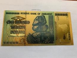 Zimbabwe 100 Trillion Souvenir Gold Foil Banknote AL - Simbabwe